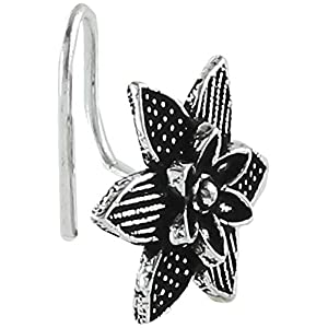monde éblouissant Silver Colour Flower Inspired Designer Nose Pin for Women/Girls {Requires Piercing in Nose