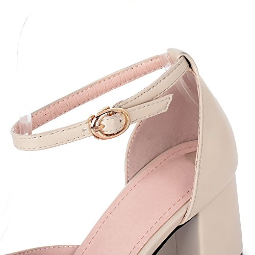 VogueZone009 Womens Closed Pointed Toe Kitten Heel Chunky Heels PU Soft Material Solid D-orsay Pumps Beige azOJ6X3