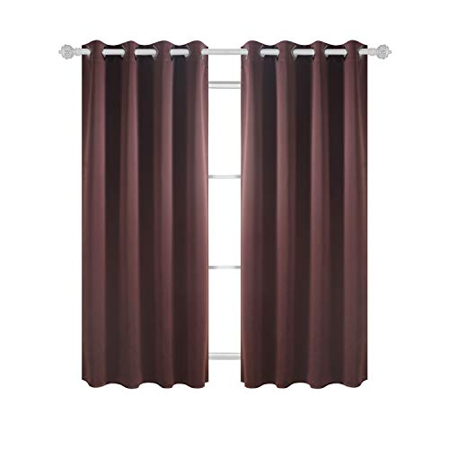 Deconovo Thermal Insulated Blackout Curtains Grommet Curtains Blackout Window Curtains for Dining Room 52W x 63L Inch Chocolate 2 ()