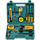 """16 Pieces Homeowner Tool Set for Auto Repair, Durable Household Small Hand Tool Kit with Plastic Tool box for DIY, Interior Decor, Household Chores, Car Repair, Craftsman"