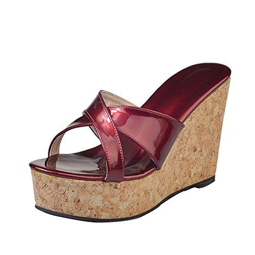 〓COOlCCI〓Women's Espadrille Platform Wedge Heel Peep Toe PU Sandals Summer Fashion Slippers Red