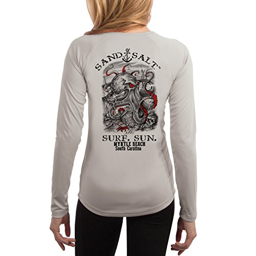 Myrtle Beach Octopus Treasure Women's UPF 50+ Long Sleeve T-Shirt Medium Pearl - Myrtle Beach Women