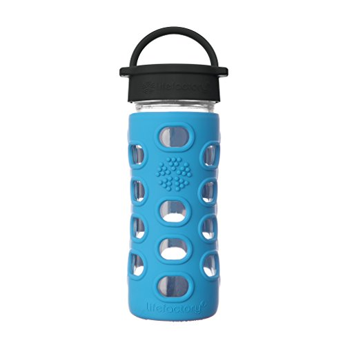 Lifefactory 12-Ounce BPA-Free Glass Water Bottle with Classic Cap and Protective Silicone Sleeve, Cobalt Blue