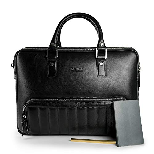 48Hr Classic 2.0 Leather Bag - Free Minimalist Leather Wallet Included - 100% Italian Leather Bag | 3in1 Expandable Laptop Camera Briefcase Backpack Messenger Bag (Nero)