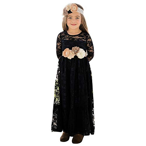 Lace Flower Girl Dress Girls Funeral Dresses Country Dresses Black Dress Party Dress Boho Long Sleeves Gown for Girls 6-8yrs - Black