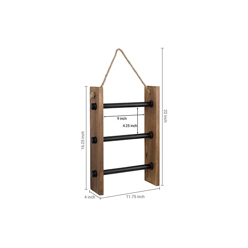 MyGift 3-Rung Wall-Hanging Industrial Pipe & Dark Brown Burnt Wood Kitchen and Bathroom Hand Towel Storage Ladder with…