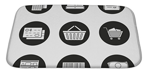 Gear New Memory Foam Bath Rug, Supermarket Icons Set, 34x21, - Place Directions Mall Carolina