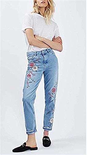 Abbigliamento Skinny Blu Attillati Bottoni Casual Donna Alla Cinturino Caviglia Jeans Con Floreali Tasche Ricamati Pantaloni Da vXZw4X