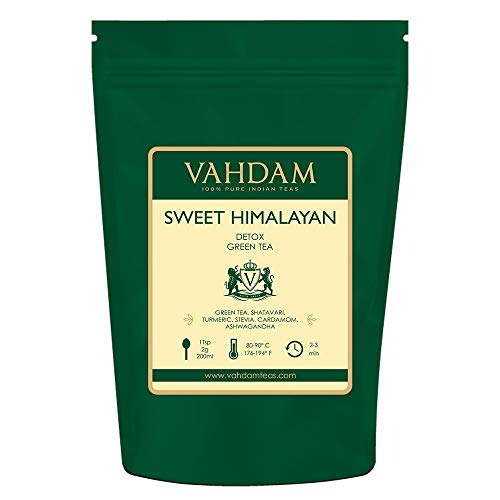VAHDAM, Sweet Himalayan Detox Green Tea Loose Leaf (100 Cups) |100% NATURAL DETOX TEA | Green Tea Leaves,Stevia, Turmeric,Shatavari,Cardamom,Ashwagandha |Brew as Hot Tea or Iced Tea |3.53oz (Set of 2)