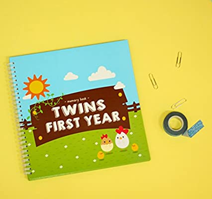 A Beautiful Baby Memory Book for Documenting Your Twin Babys First Year Great Newborn Twins by Unconditional Rosie Perfect Gift for Moms Having Two Babies Farm Edition Gorgeous Baby Twin Gifts