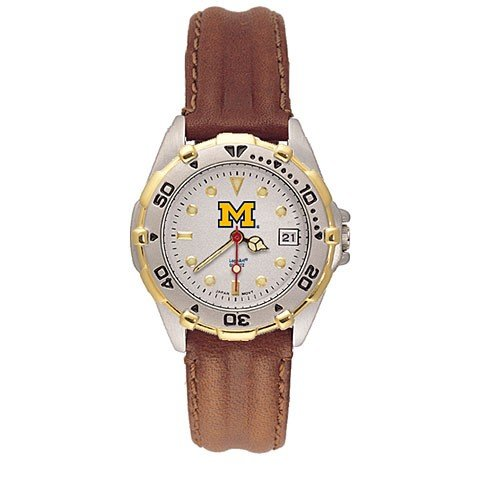Michigan Wolverines Ladies All Star Watch w/Leather Band
