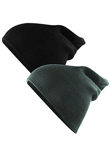 Century Star Unisex Kids Knit Cute Cuff Baggy Hip-hop Slouchy Hat Warm Children Beanie Boys Girls Black Dark Grey 2 Pack