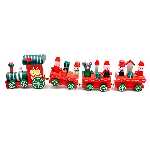Christmas Wooden Train Santa Bear Snowmen Christmas Decoration for Children's Baby Toddler Decorative Toy Christmas Gifts - Christmas Bear Train