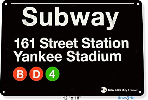 OVCC Metal tin Sign 7.8inch11.8inches TIN Sign Subway 161 Yankee Stadium Metal New York Street Garage Store A630