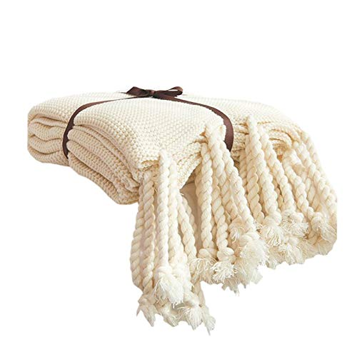 Knit Throw Blanket, Household Decorative Tassel Crochet Blanket Rug for Bedroom Sofa/Bed/Couch/Car/Living Room/Office (51.18