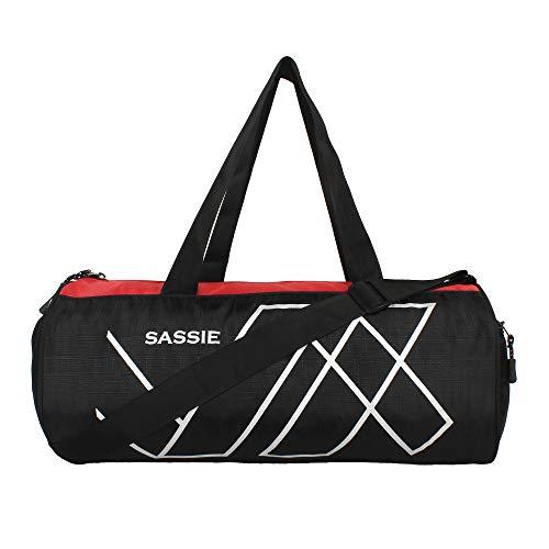 Sassie Polyester 45 cms Black & Red Gym Bag Duffel Bag (17 LTR)
