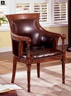 Distressed Seats (Kirkless Executive Style Accent Chair with Dark Brown Bonded Leather on Padded Seat and Back Distressed Antique Oak Wood Finish)
