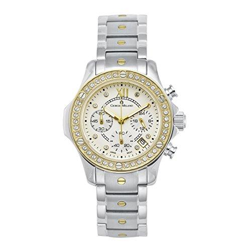 Giorgio Milano 814STG02 Clara Two Tone IP Gold Chronograph Watch with Swarovski Crystals -