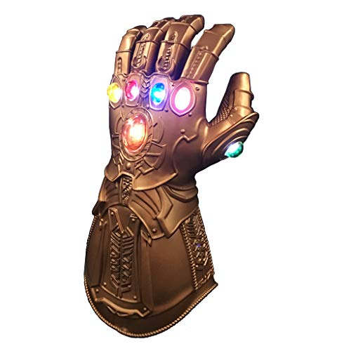 BestCoser Infinity Gauntlet Thanos Glove with 6 LED Gems for Adult, Battery Included (Brass-LED Light -