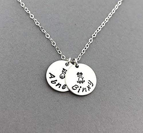 Personalized Dog or Cat Name Necklace, Sterling Silver Pet Charm Jewelry, Furbaby Memorial Gift, Engraved Animal Necklace