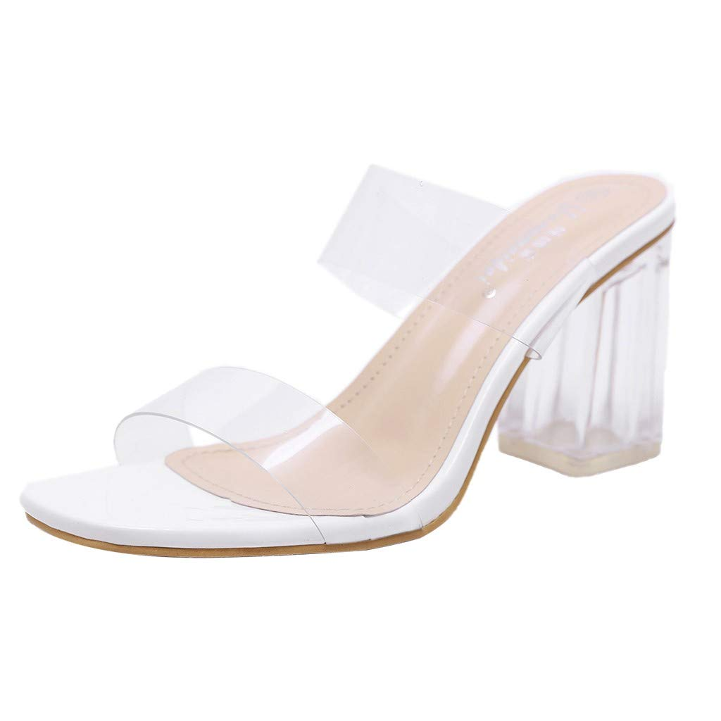 Sanyyanlsy Women Rome Clear Perspective Band Slippers Clear Mid Chunky Block Heel Slides Slippers Indoor Outdoor Wear White by Sanyyanlsy