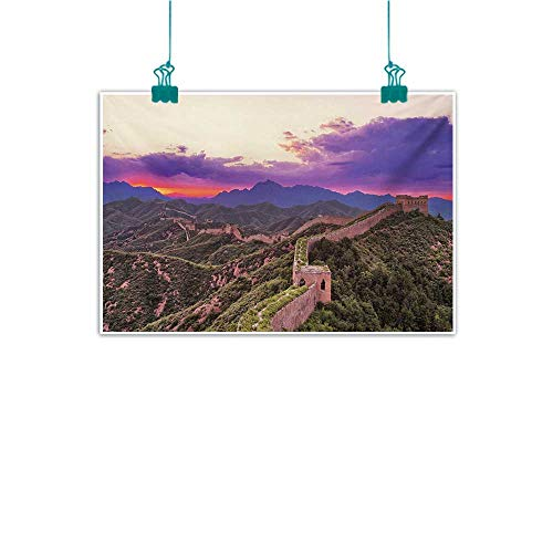 Mdxizc Light Luxury American Oil Painting Great Wall of China Surreal Cloudscape in Fantasy Tones East Heritage Tourism Exotic Art Home and Everything W47 xL31 Violet Green