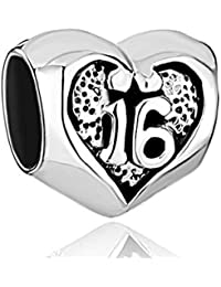 925 Sterling Silver 16 Birthday Charm Heart Love Beads For Bracelets