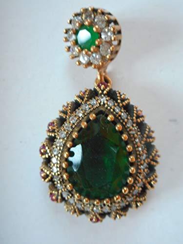 (NYSK dream Antique Turkish Ottoman Gold Vermeil on 925 Silver Diamond Emerald Pendant pear Shaped)