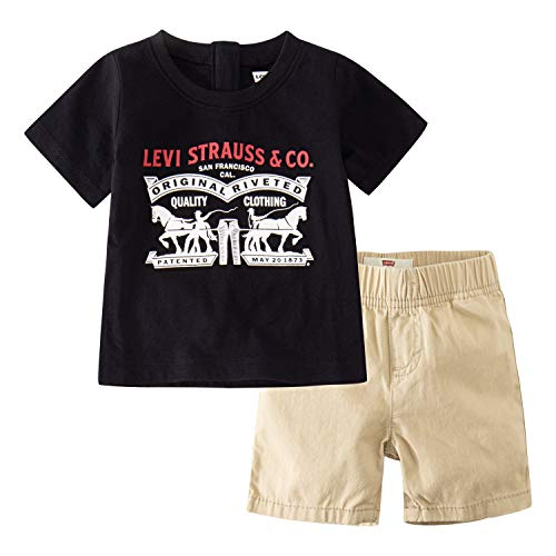 Levi's Baby Boys Graphic T-Shirt and Shorts Two-Piece Set, Black/Pale Khaki, 18M