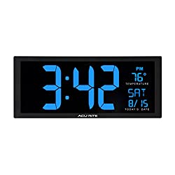 AcuRite 75152M Oversized Blue LED Clock with Indoor Temperature, Date & Fold-Out Stand, 14.5