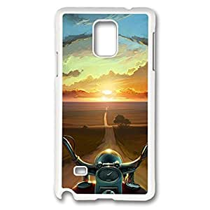 Galaxy Note 4 Case, Creativity Design Bike Riding Into Sunset Canvas Painting Creativity Print Pattern Perfection Case [Anti-Slip Feature] [Perfect Slim Fit] Plastic Case Hard White Covers for Samsung Galaxy Note 4