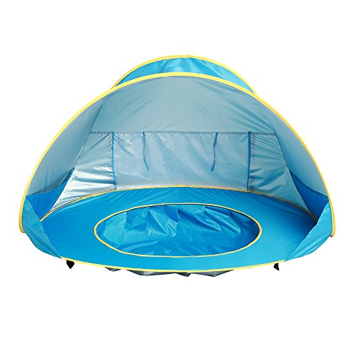 Hoomall Baby Beach Tent Pop Up Collapsible Portable Shade Pool UV Protection Canopy Sun Shelter Playhouse for Infant,Carry Bag Included,50+ UPF (Round)