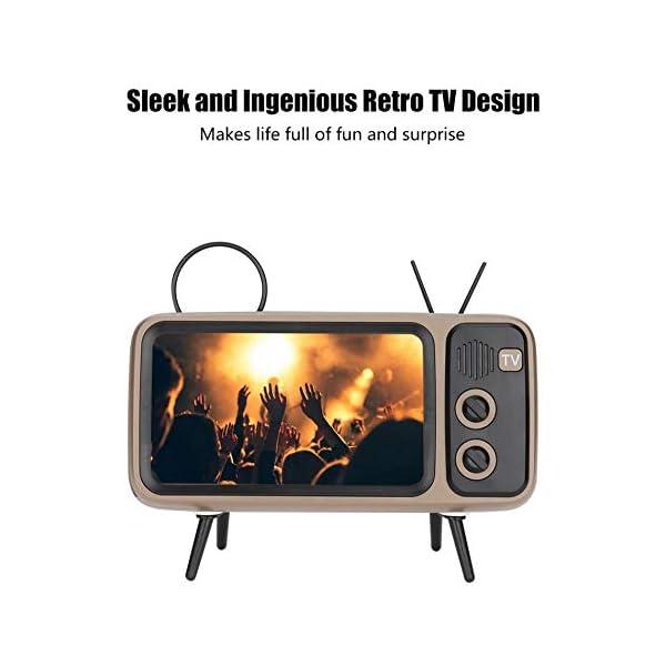 Enceinte Portable Rétro Bluetooth,TV Support de téléphone Portable Haut-Parleur,AUX FM Bluetooth en Option, qualité sonore stéréo 3D 2