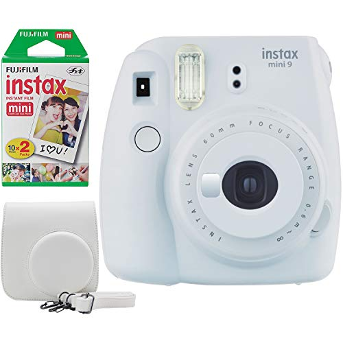 Fujifilm Instax Mini 9 Instant Camera Bundle w/Case and Film (Smokey White)