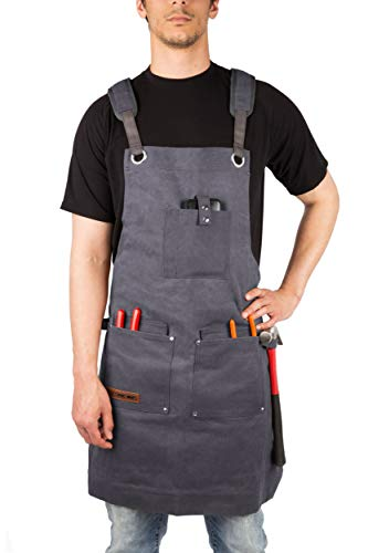 Waxed Canvas Heavy Duty Work Apron With Pockets - Deluxe Edition - with Quick Release Buckle Adjustable up to XXL for Men and Women - Texas Canvas Wares (Grey Deluxe Edition) by Texas Canvas Wares (Image #1)