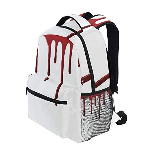 KVMV Flowing Blood Horror Spooky Halloween Zombie Scary Help Me Phrase Themed Illustration Lightweight School Backpack Students College Bag Travel Hiking Camping Bags