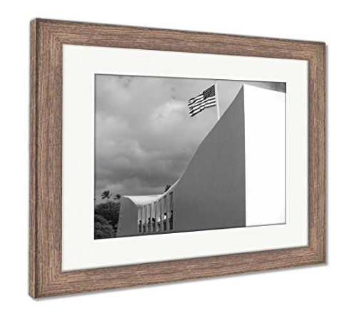 Ashley Framed Prints American Flag At Arizona Memorial At Pearl Harbor Hawaii, Wall Art Home Decoration, Black/White, 26x30 (frame size), Rustic Barn Wood Frame, (Pearl Harbor Flag)