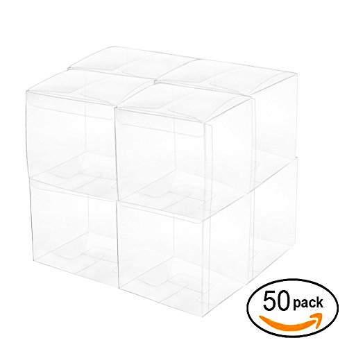 Clear Cube Box Transparent Candy Box Plastic Thank You Treat Boxes Wedding Party Favors Baby Shower Party Boxes Supplies 2x2x2 Inch, (Plastic Wedding Favor Boxes)