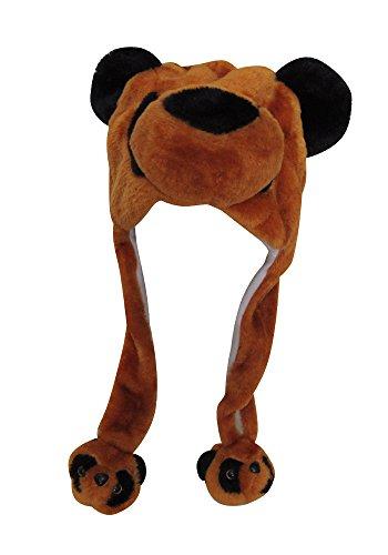 DK Hawaiian collections Plush Fun Animal Beanie Winter Ski Hat Cap with Earflap Pom (One Size, Bear)