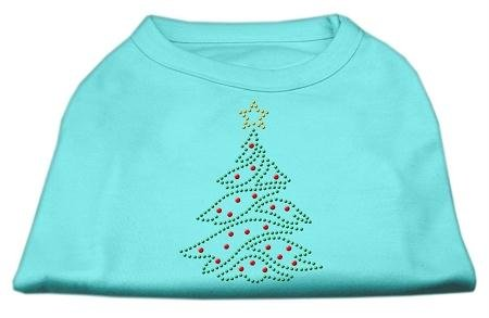 Mirage Pet Products 10-Inch Christmas Tree Rhinestone Print Shirt for Pets, Small, Aqua