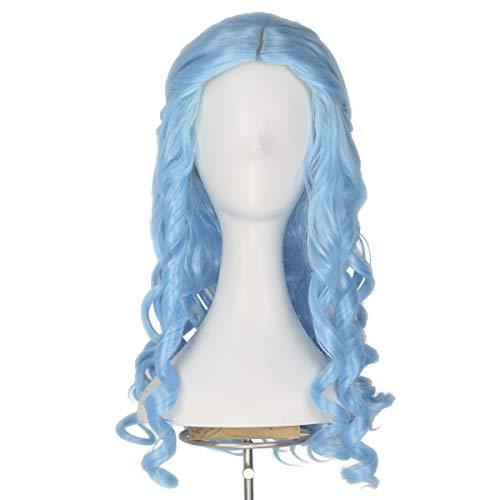 Miss U Hair Women Girl's Long Blonde Curly Halloween Cosplay Costume Wig Adult Kids (Azure blue)]()