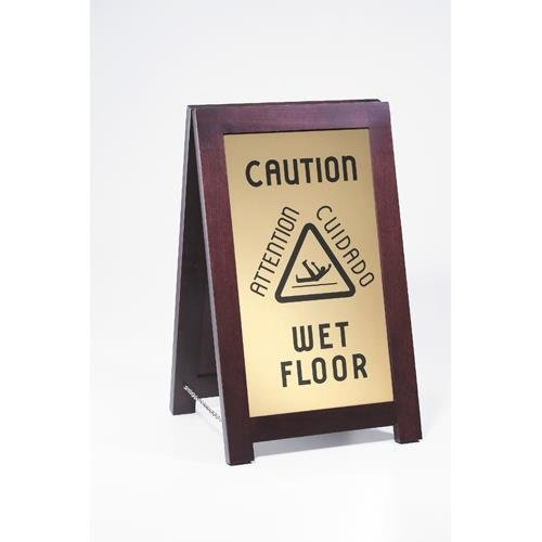 Cal-Mil 851-WET Floor Sign with Chain, 12'' Width x 17.5'' Depth x 20'' Height, Dark Wood by Cal Mil
