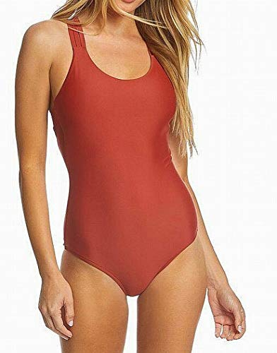 Body Glove Women's Smoothies Crossroads Solid Multi Strap Back One Piece Swimsuit, Terracotta, Large