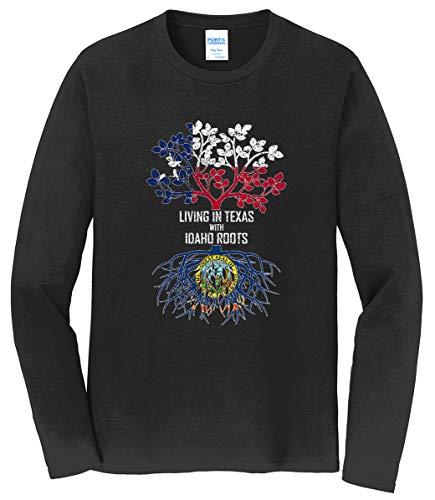 Tenacitee Men's Living in Texas with Idaho Roots Long Sleeve T-Shirt, 2X-Large, Black from Tenacitee