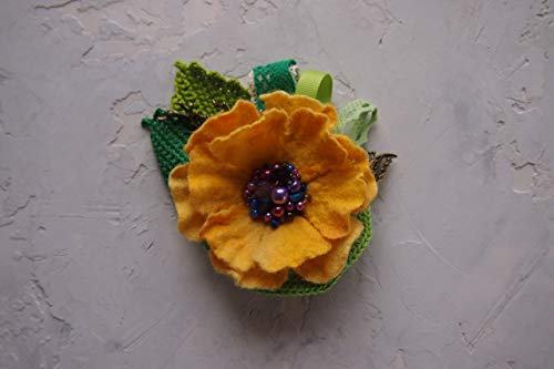 (Felt flower brooch,felted wool brooch, yellow Flower Brooch,Handcrafted Wool broochyellow,green,purple,Handmade Felted jewelry,Ready to ship,Felt flower pin,Gift for Mom -Mother's Day Gift )
