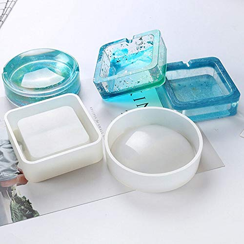 1 PC New Mirror Ashtray Silicone Mold Crystal Epoxy UV Resin Plastic Manual Flower Container Glossy Polished 7A1710 -