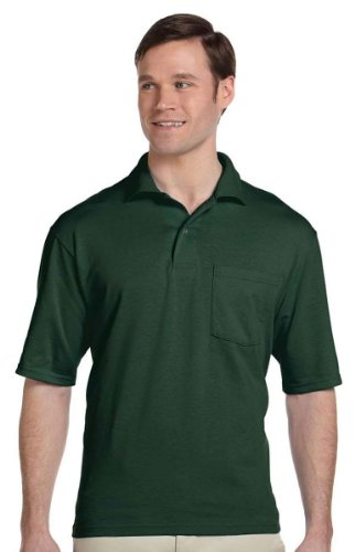 jerzees-mens-56-oz-50-50-jersey-pocket-polo-with-spotshield436p-forest-green-l