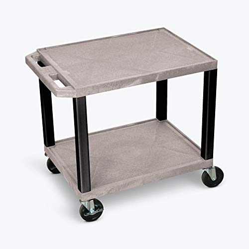 """H WILSON WT26GYE-B Tuffy Utility Carts with 3-Outlet Electrical Assembly, 24"""" W x 18"""" D Shelf, 26"""" H, Gray"""