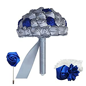 The best of us (Wrist Flower and Boutonniere Holding Bouquet Royal Blue Mixed Silver Silk Wrist Flower Wedding Bridal Bouquet Set,30cm which Color Set 67