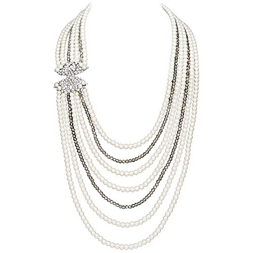 Coucoland Audrey Hepburn Inspired Pearl Necklace Earrings Set 1920s Gatsby Imitation Pearls Necklace with Crystal Brooch Bridal Pearl Jewelry Sets (White) -
